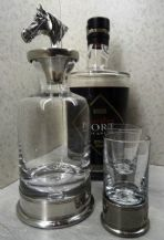 Pewter Horse Head Mini Decanter and Shot Glass Set